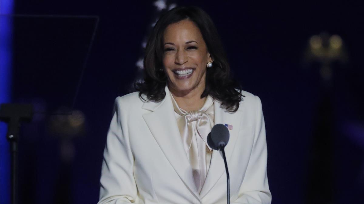 La vicepresidenta electa de EEUU Kamala Harris, durante su discurso de este domingo.