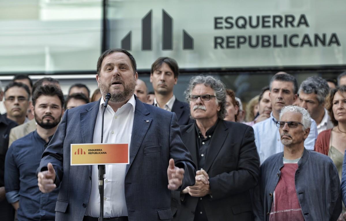 Oriol Junqueras en rueda de prensa en la sede de ERC para comentar las grabaciones de Jorge Fernández Díaz.
