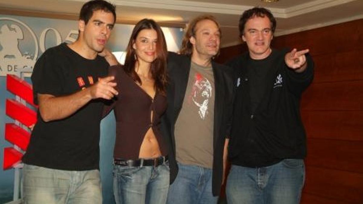 Eli Roth, Barbara Nedeljáková, Greg Nicotero y Quentin Tarantino, en la presentación de 'Hostel' en Sitges-2005