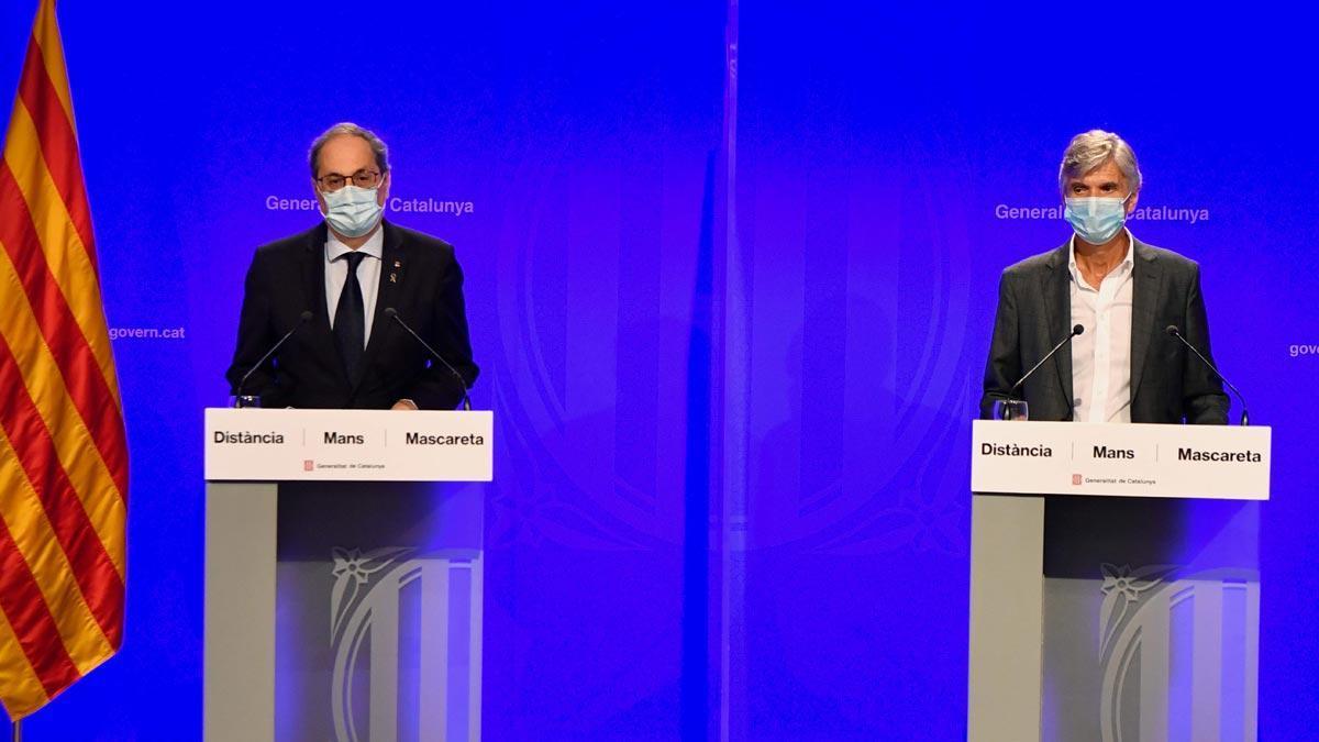 Torra apela a la responsabilidad de los jóvenes que hacen botellón. En la foto, Torra junto a Josep Maria Argimon.