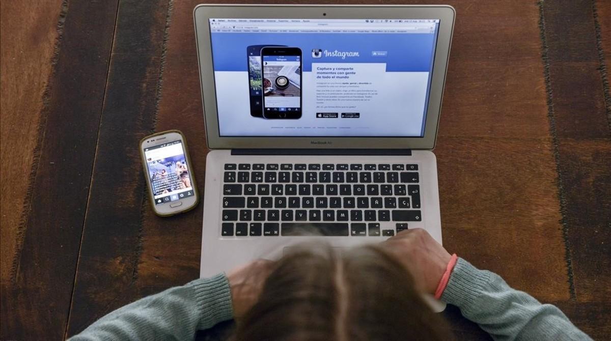 Pantalla de acceso a Instagram desde el ordenador.