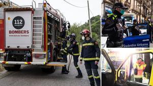 Cuerpos de servicios de emergencia en Barcelona.