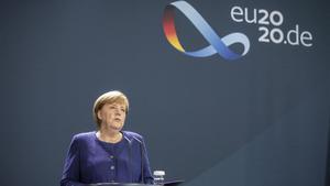 La cancillera alemana Angela Merkel en su comparecencia para felicitar a Joe Biden.