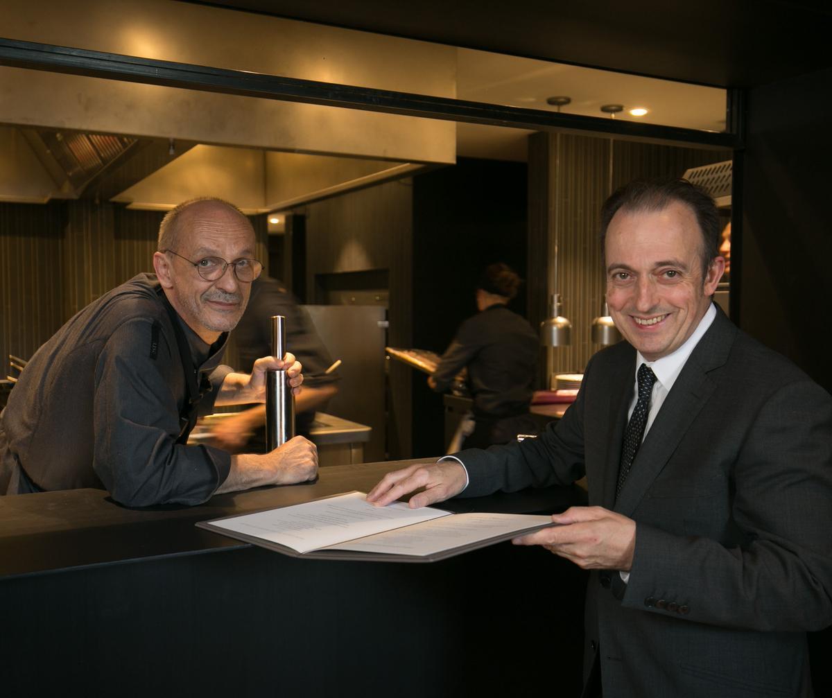 Xavier Sagristà y Toni Gerez, en el Castell Parelada Restaurant.