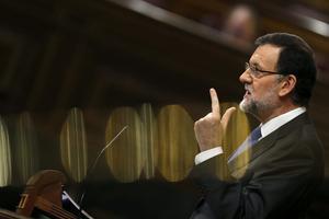 Mariano Rajoy, durante una de sus intervenciones en el debate, este miércoles.