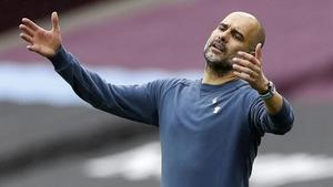 Guardiola se desespera en el partido ante el West Ham.