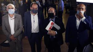 Carlos Carrizosa, Miquel Iceta y Alejandro Fernández en el coloquio organizado por Societat Civil Catalana.