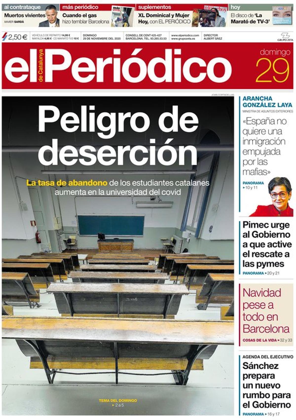 La portada de EL PERIÓDICO del 29 de noviembre del 2020