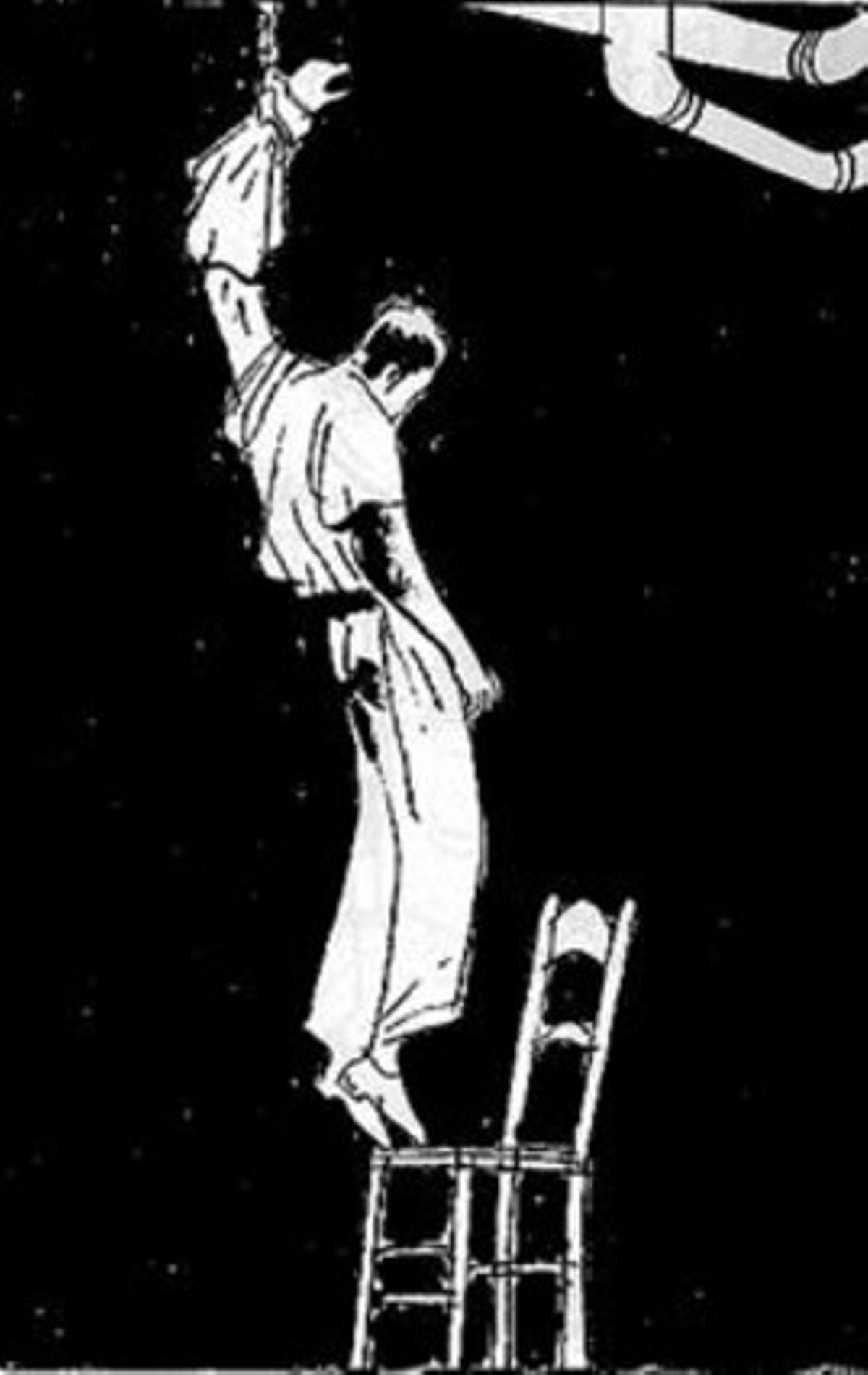 Arriba, una viñeta muestra a Miguel Núñez mientras fue torturado por la policía franquista. Al lado, portada del cómic.
