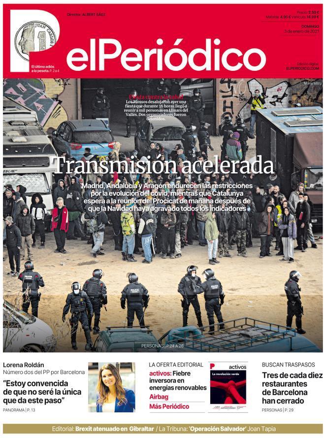 La portada de EL PERIÓDICO del 3 de enero del 2021