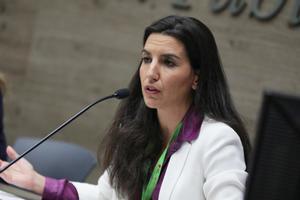 La portavoz de Vox en al Asamblea de Madrid, Rocío Monasterio, participa en un debate con otros representantes del PSOE, PP y Cs.