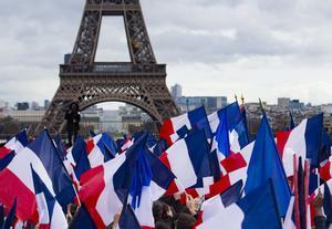 Seguidores de Fillon en la concentración de apoyo en Trocadero.