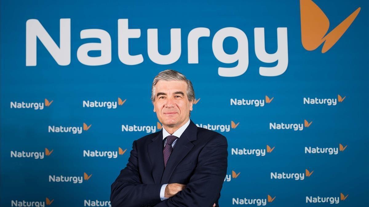 El presidente ejecutivo de Naturgy,Francisco Reynes, en una rueda de prensa.