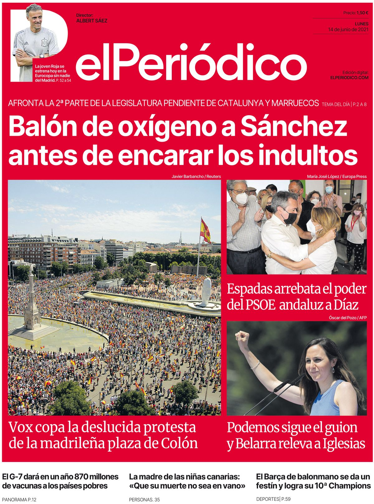 La portada de EL PERIÓDICO del lunes 14 de mayo de 2021.
