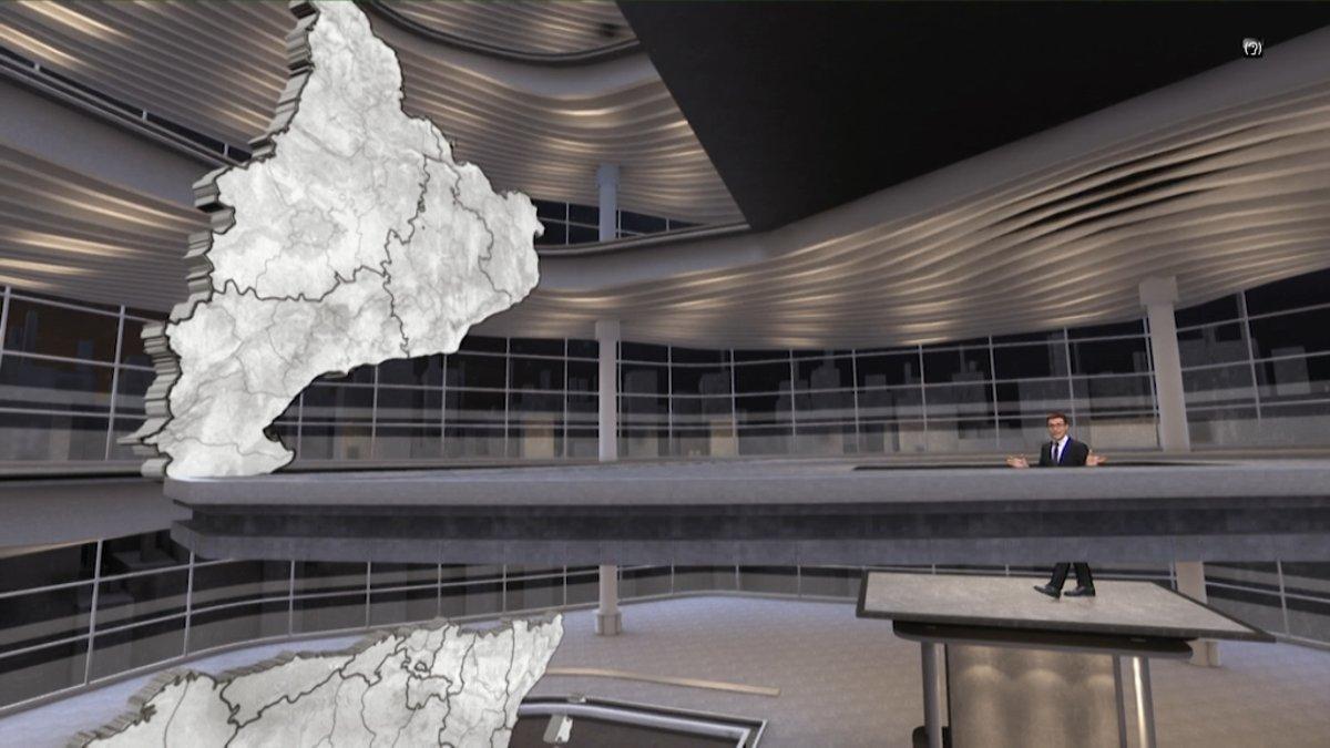 Imagen del 'ascensor' del plató virtual con el que ilustrará los datos de las elecciones el programa especial de Televisió de Catalunya.