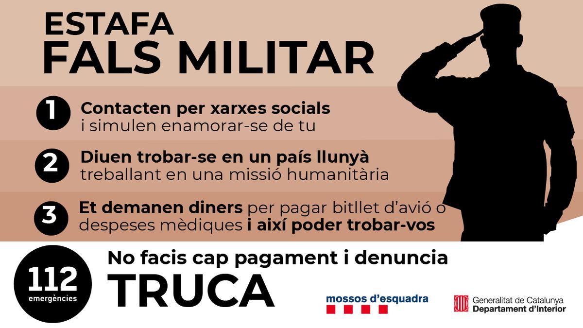Mensaje de los Mossos sobre la estafa del falso militar.