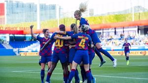 Las jugadoras del Barça femenino celebran un gol.