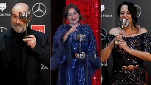 'Photocall' de los Premios Feroz. En la foto, Javier Cámara y Candela Peña (mejores actores) y Yolanda Ramos (mejor actriz de reparto) en los Feroz de este año.