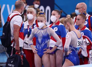 El equipo ruso, en un momento de la final por equipos.