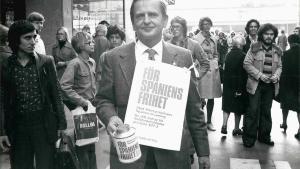 Palme, en una recaudación de fondos para la oposición española en octubre de 1975 cinco días después de los últimos fusilamientos del franquismo.