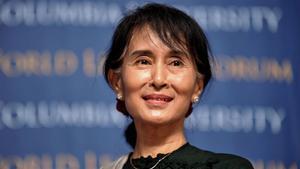Foto de archivo de Aung San Suu Kyi durante un acto en la universidad de New York