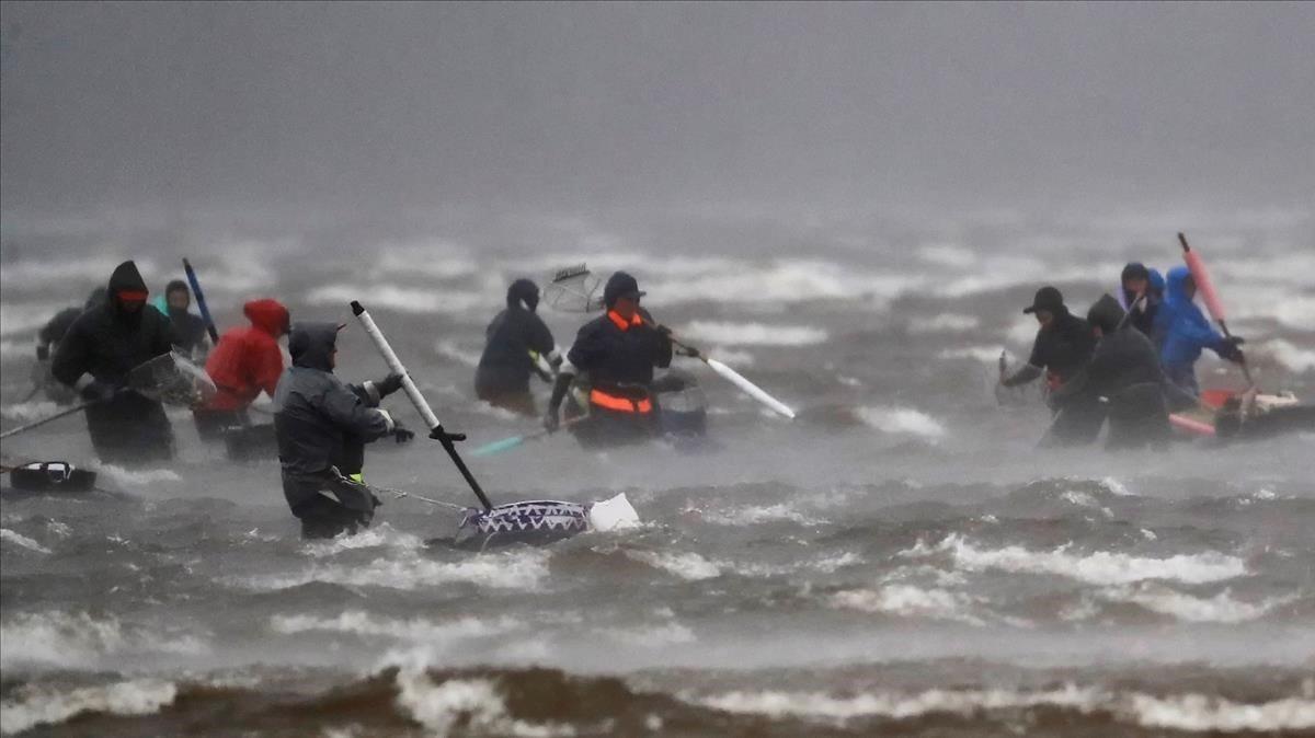 Pescadores de marisco en Galicia.