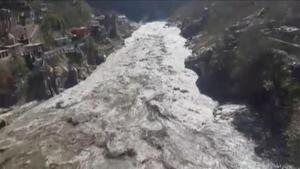 Inundación en distrito de Chamoli, en el estado de Uttarakhand, al norte de la India.
