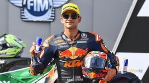 El español Jorge Martin (KTM) ha ganado, hoy, en Austria, la carrera de Moto2.