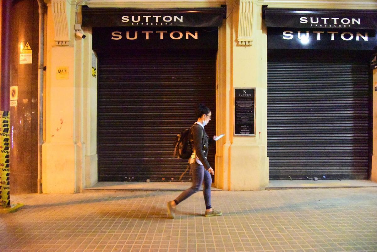 La discoteca Sutton de Barcelona, cerrada.