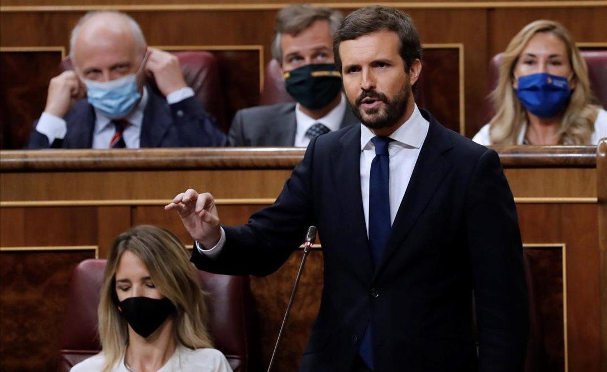 El líder del PP, Pablo Casado, en el Congreso de los Diputados.