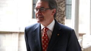 El 'president', Artur Mas, en el Palau de la Generalitat, el viernes.