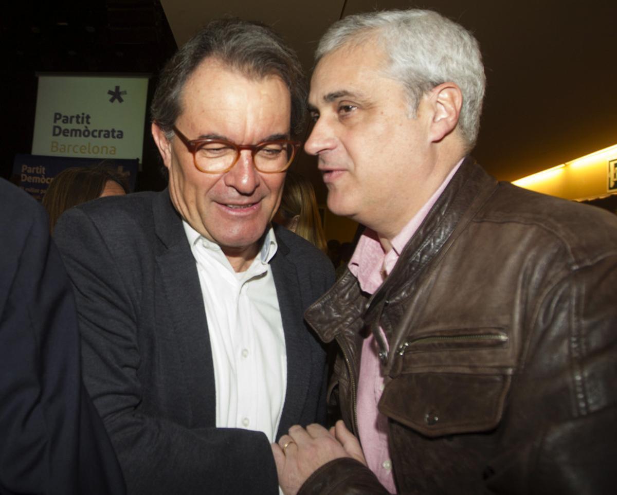 Artur Mas y Germà Gordó, este sábado, en un acto del PDECat en Barcelona.