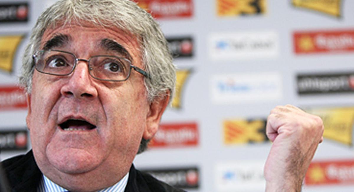 El presidente del RCD Espanyol, Daniel Sánchez Llibre, en una rueda de prensa del pasado mes de octubre.