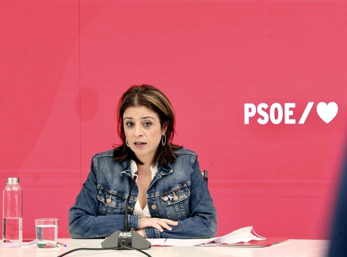 La vicesecretaria general del PSOE, Adriana Lastra, este 11 de octubre en un acto con alcaldes de la federación madrileña.