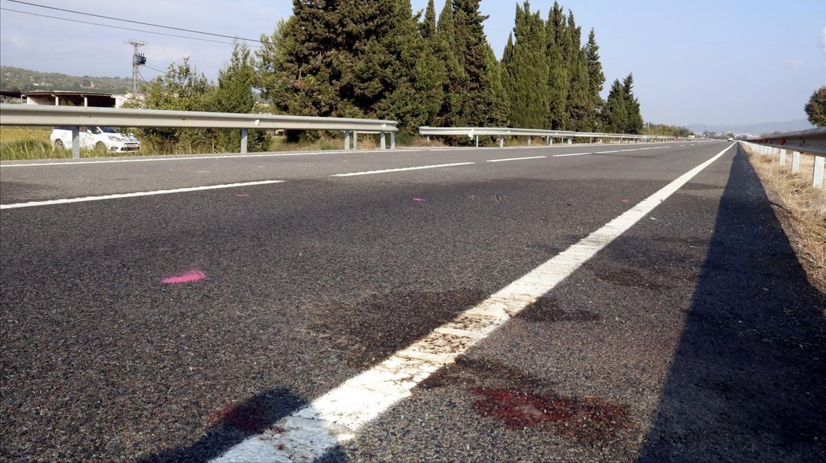 Punto de la C-12 donde se produjo el accidente en el que murieron dos personas.