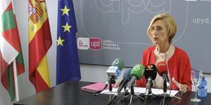 Rosa Díez, durante una rueda de prensa, el sábado en Bilbao.