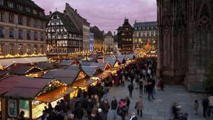 Uno de los mercados de Navidad de Estrasburgo.