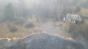 Vista aérea del incendio en la región de Chernobyl.