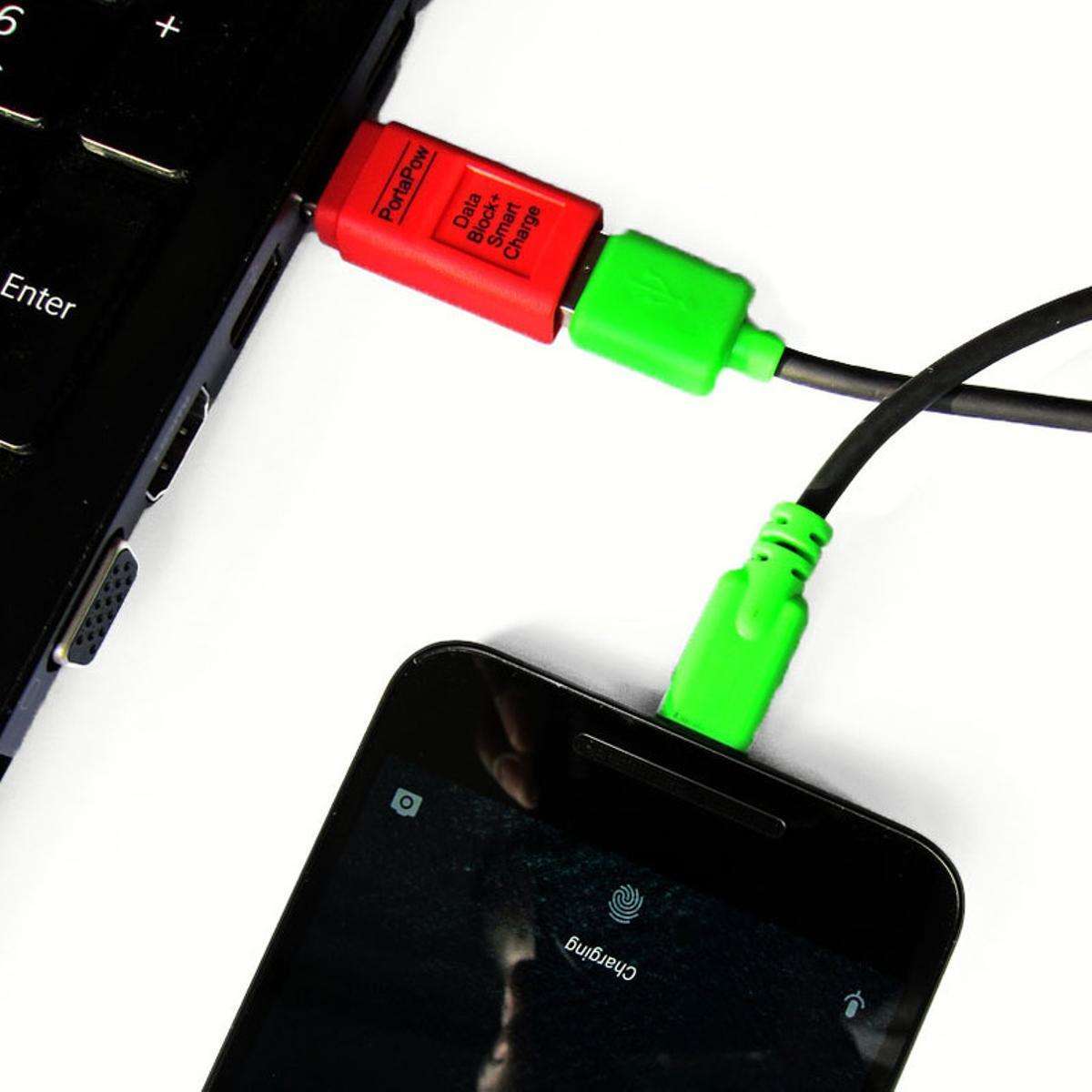 El condón de USB media entre el cable USB y el dispositivo de carga.