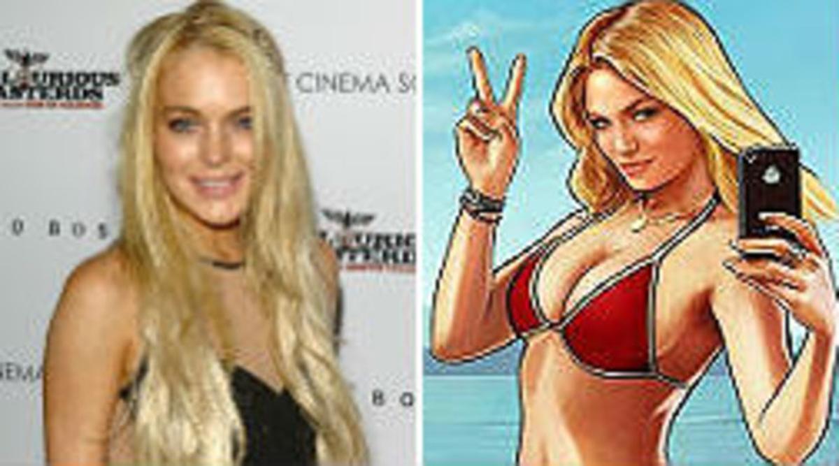 Lindsay Lohan, junto al personaje que aparece en 'Grand Theft Auto V'.