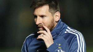 Leo Messi, durante un entrenamiento de Argentina para preparar la Copa América.