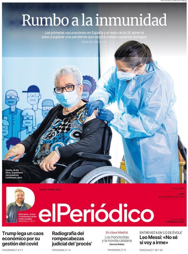 La portada de EL PERIÓDICO del 28 de diciembre de 2020