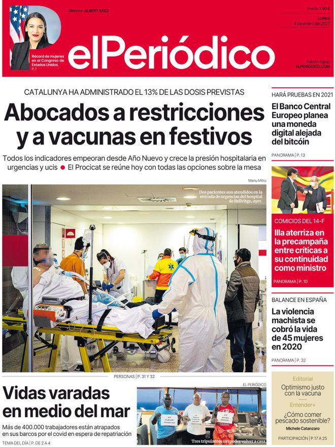 La portada de EL PERIÓDICO del 4 de enero del 2021.