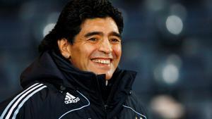 Diego Maradona durante un partido como entrenador de Argentina.
