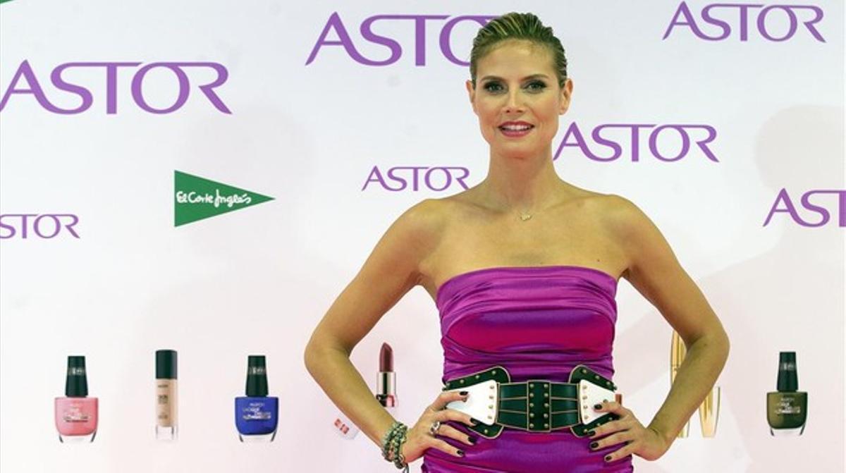 Heidi Klum, posa como imagen de la firma cosmética Astor, en Madrid en junio del 2012.