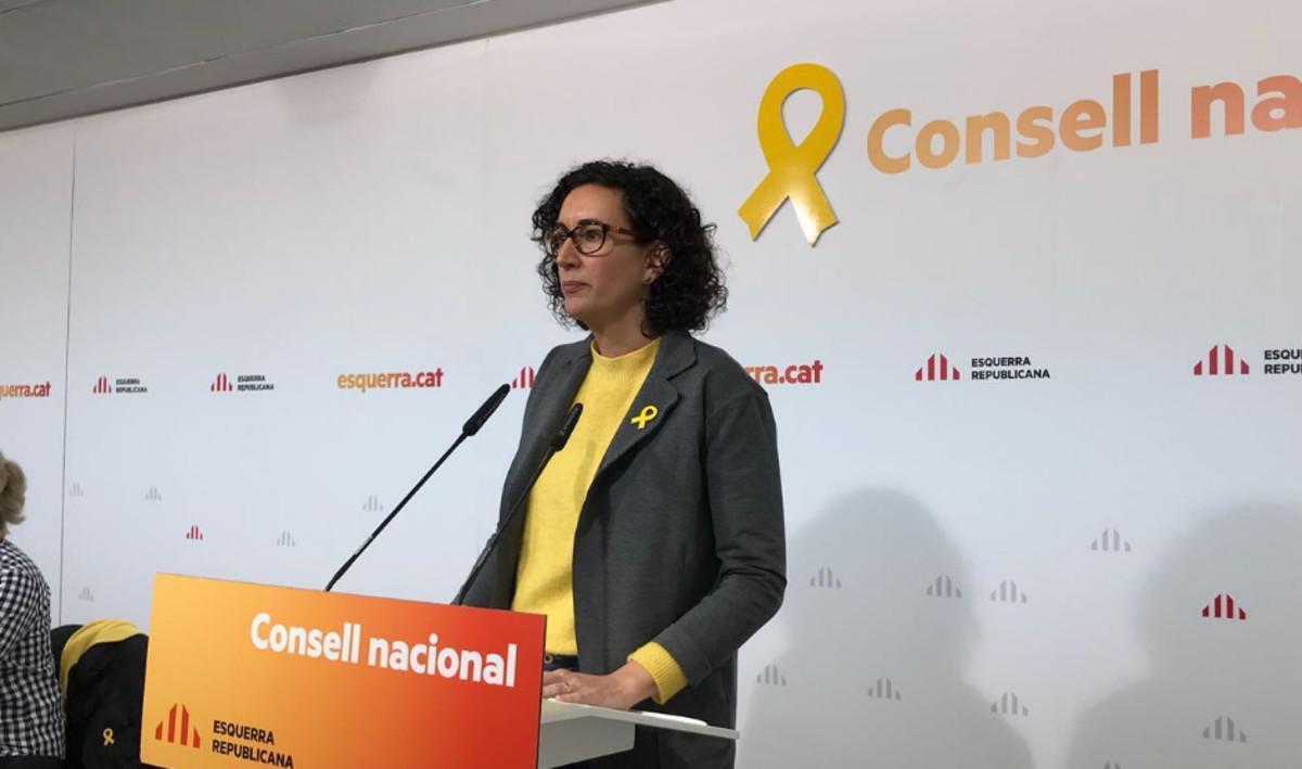 Marta Rovira, durante su intervención en el Consell Nacional de ERC.