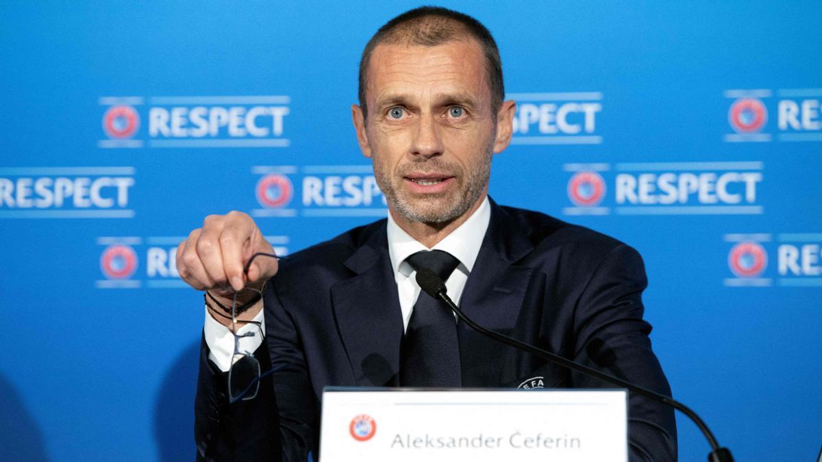 Aleksander Ceferin, el presidente de la UEFA, en su comparecencia.