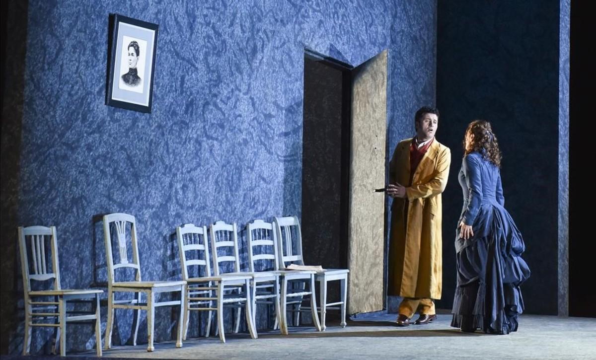 Piotr Beczala (Werter) y Anna Caterina Antonacci (Charlotte), en una escena de 'Werther', de Massenet, en el Liceu.