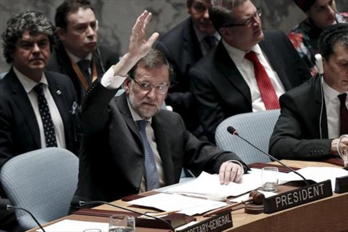 Mariano Rajoy en una votación del consejo de seguridad de las Naciones Unidas en Nueva York, ayer.