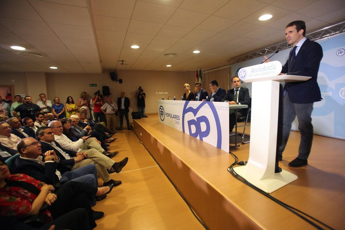 El presidente del PP, Pablo Casado, en un acto del partido de Andalucía.